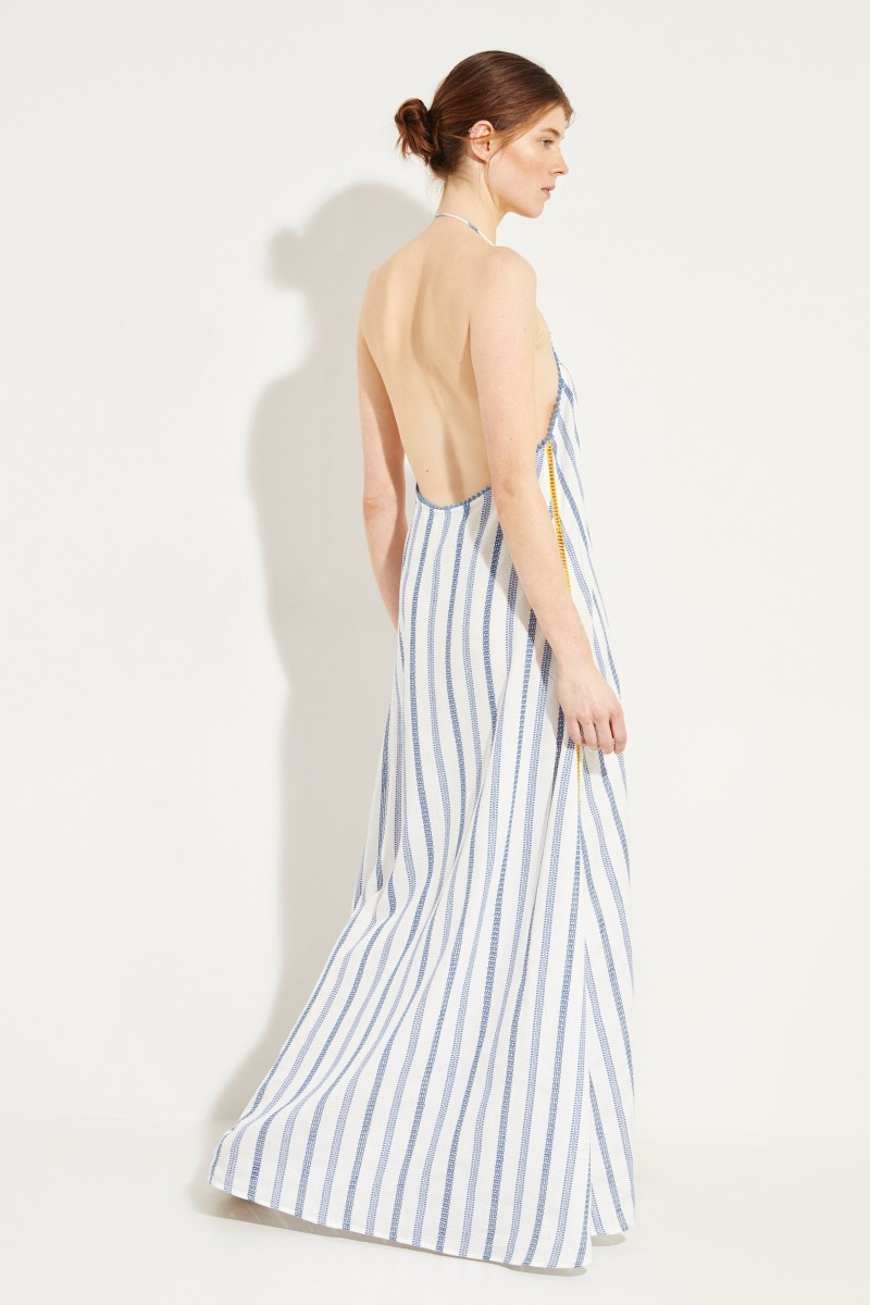Baumwoll-Neckholder-Kleid 'Valentina' Blau/Gelb