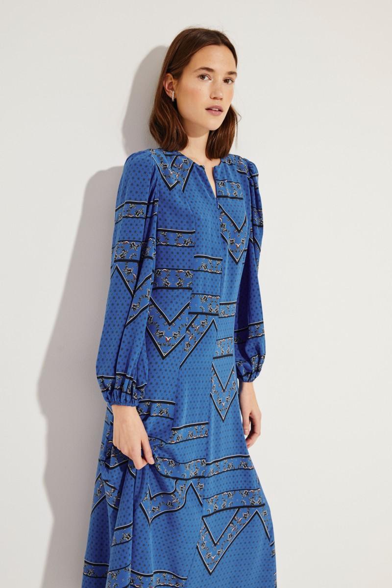 Seiden-Kleid 'Cloverdale' mit Print Blau