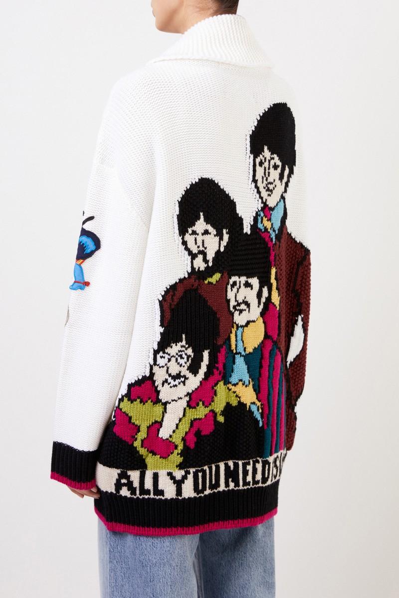Stella McCartney Woll-Cardigan mit Patches Weiß/Multi