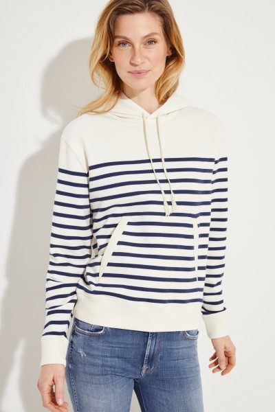Sweatshirt mit Streifenmuster Crème/Blau