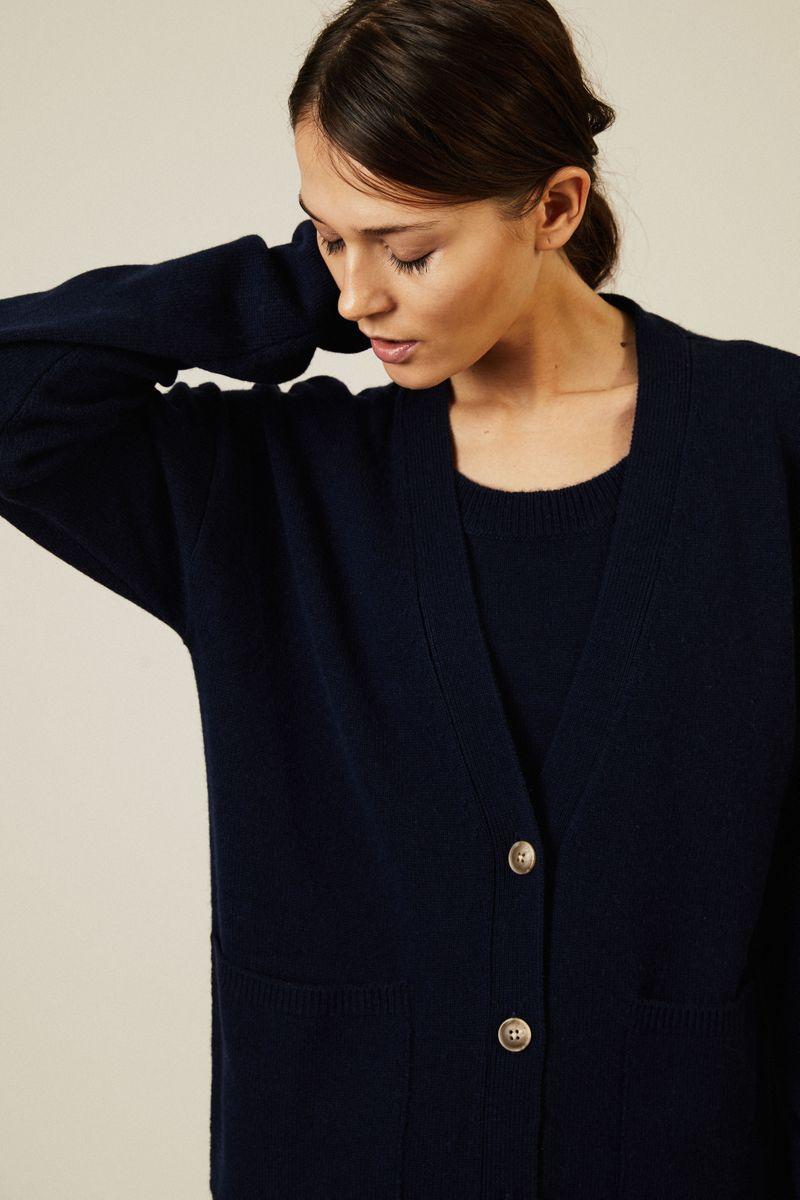 Woll-Cashmere-Twinset Blau