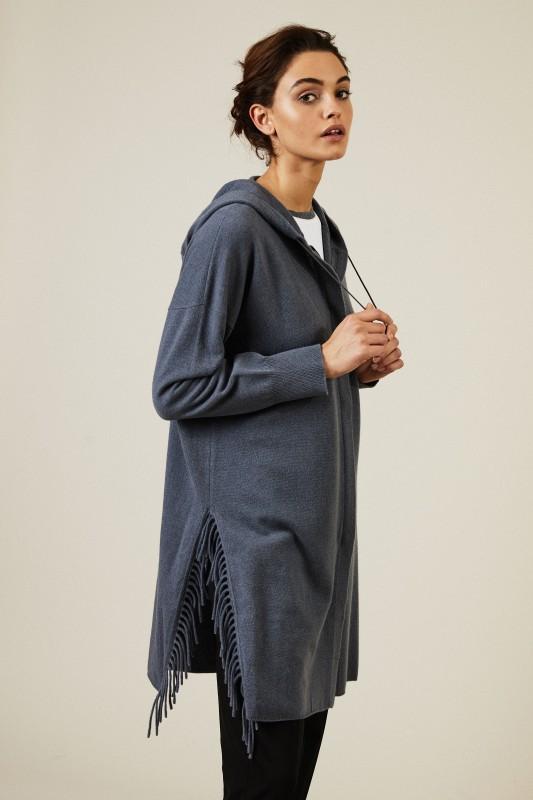 Woll-Cashmere-Mantel mit Fransen Blau