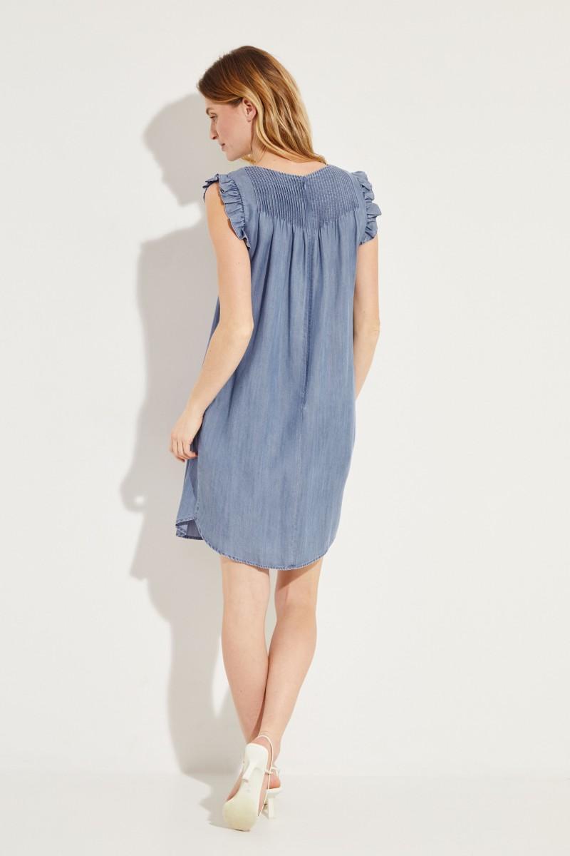 Jeanskleid mit Rüschen Blau