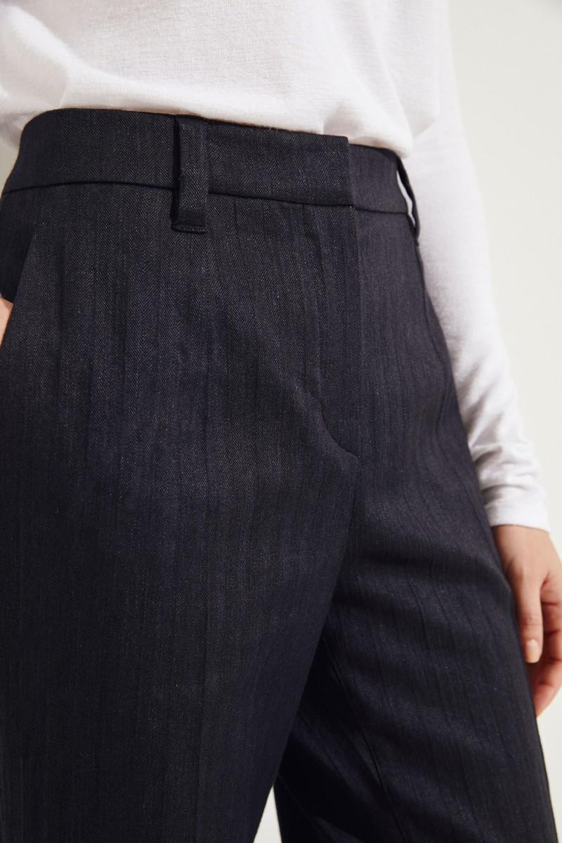 Baumwoll-Leinen-Hose mit Saumumschlag Schwarz
