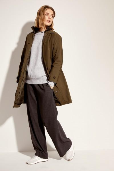 Baumwoll-Mantel mit Steppkragen Khaki
