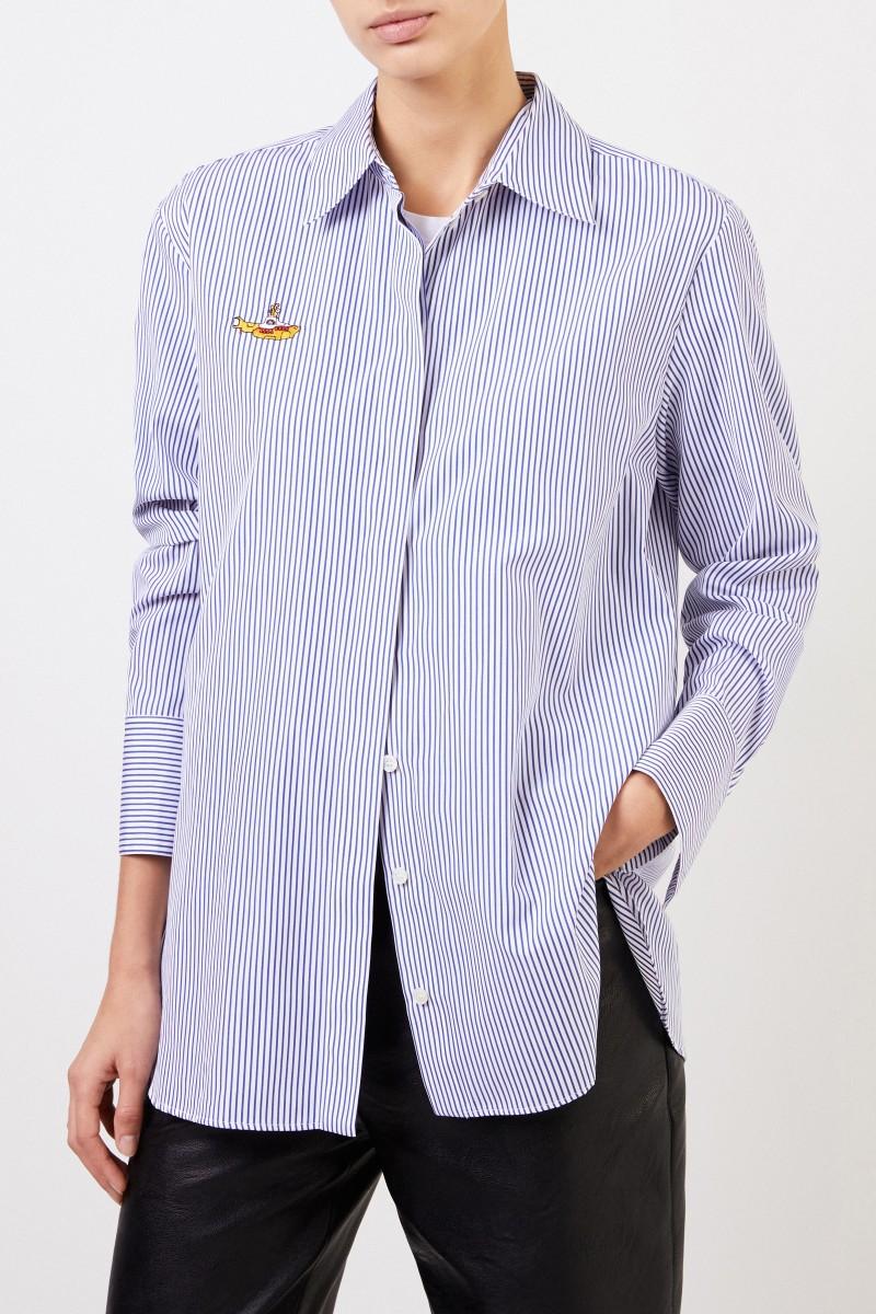 Stella McCartney Gestreifte Bluse mit Stickerei Blau/Weiß