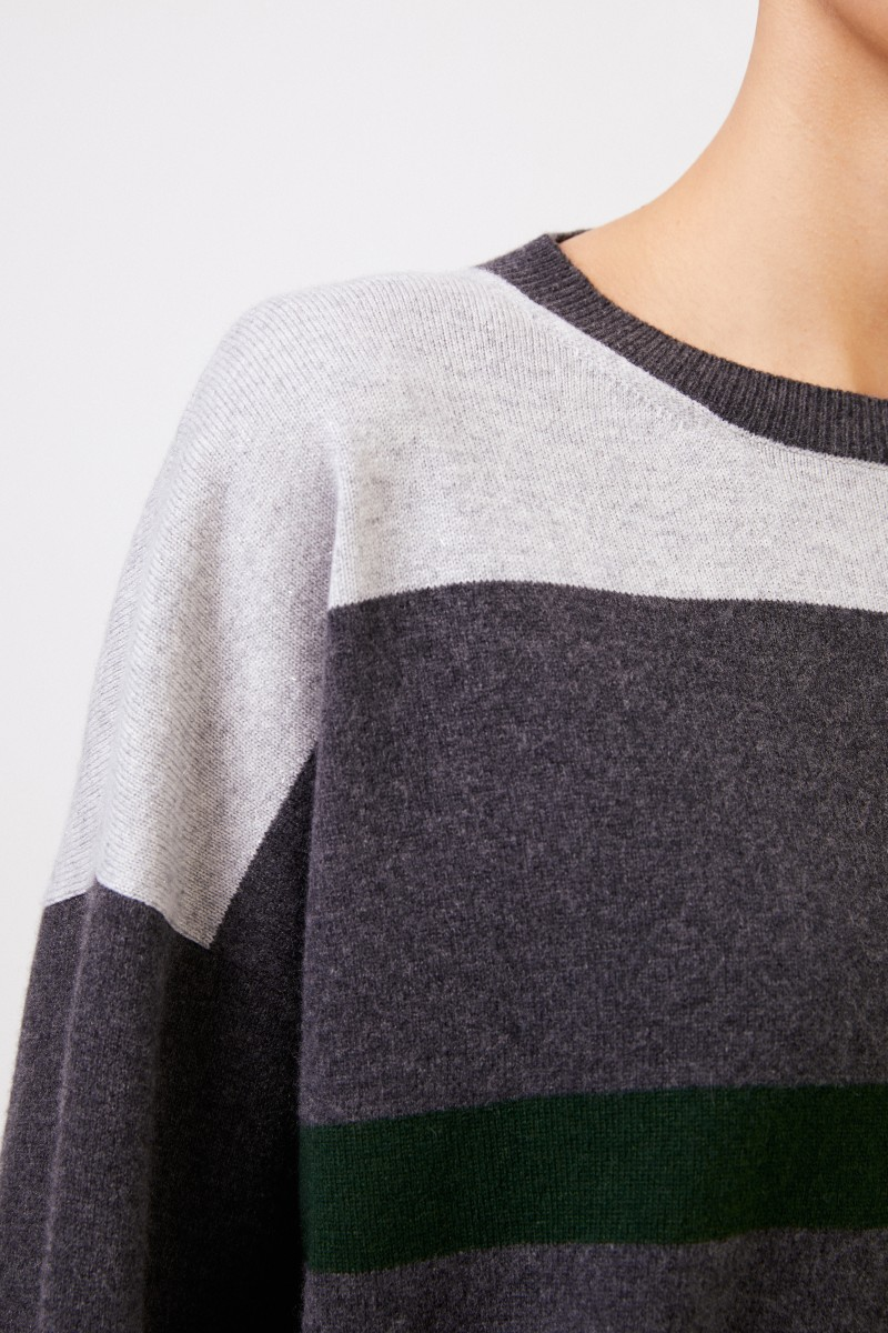 Fabiana Filippi Gestreifter Woll-Seiden-Pullover Grau/Grün