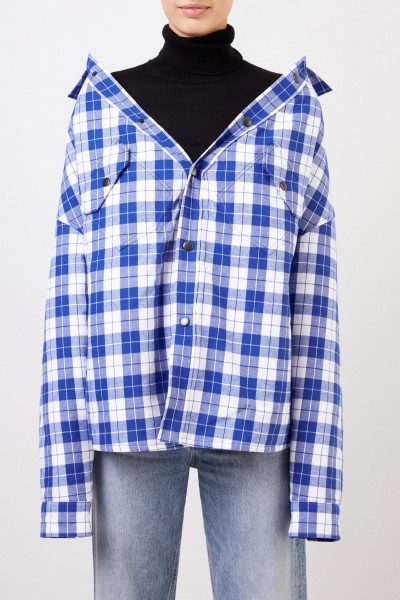 Balenciaga Cotton flannel swing blouse with checked pattern Blue/White