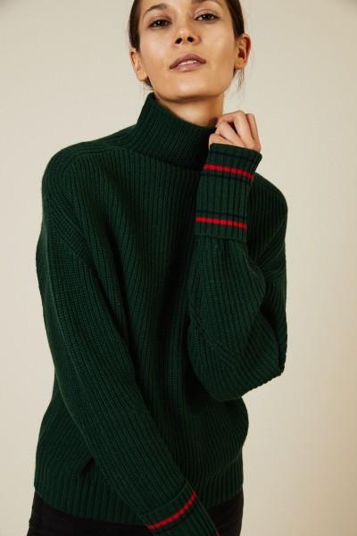 Woll-Cashmere-Pullover Grün/Rot/Blau