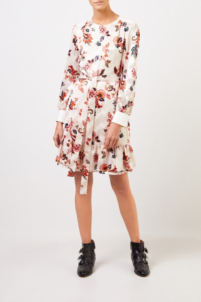 Tory Burch Kleid mit Volant und Gürtel Créme/Multi