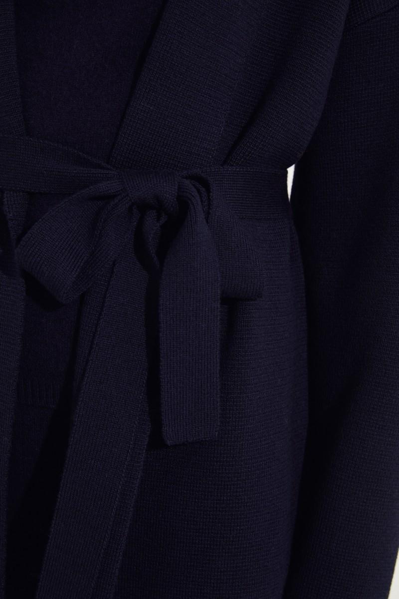 Strickmantel mit Gürtel-Detail Marineblau