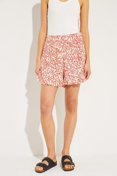 Shorts mit floralem Print Crème/Rot