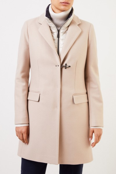 Fay Wool coat with down vest Beige