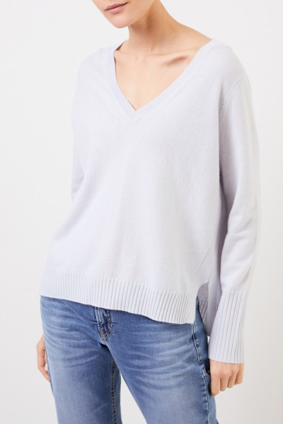 Allude V-neck Cashmere pullover with slits Light Blue