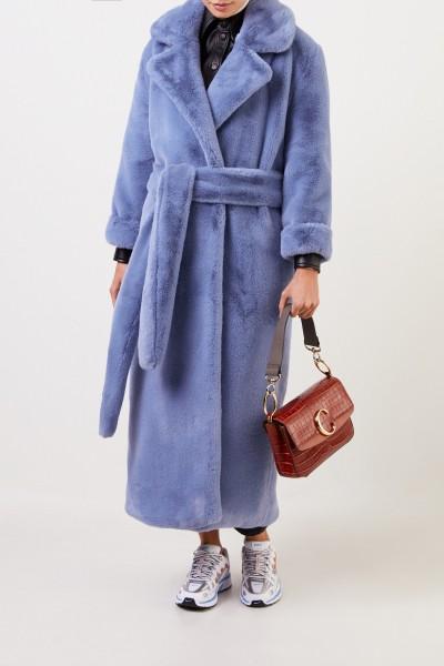 Ochi Long faux fur coat with belt Blue