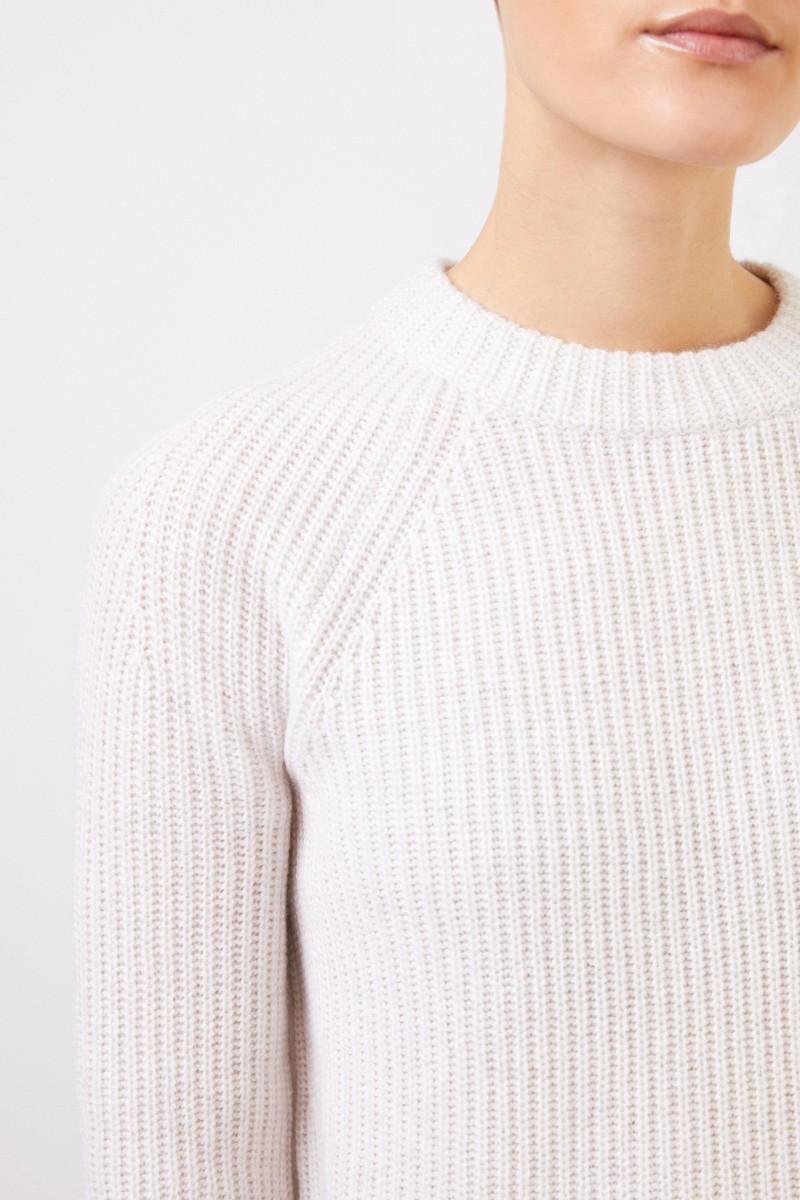 Vince Klassischer Cashmere-Pullover Weiß/Creme