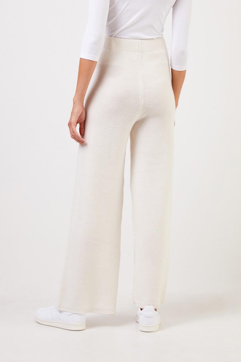 UZWEI Cashmere-Hose mit weitem Bein Weiß