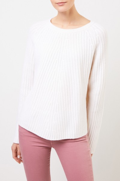 Allude Woll-Cashmere-Pullover Weiß