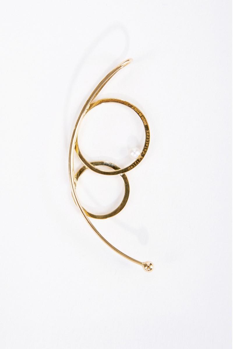 Delfina Delettrez Earcuff 'Double Bubble' mit Diamant und Perle Gelbgold