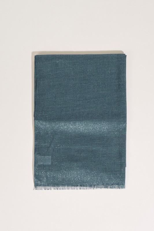 Cashmere-Seiden-Schal mit Lurexfäden Blau