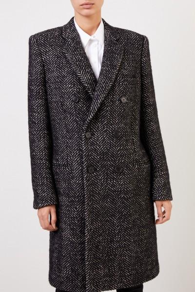 Saint Laurent Wool coat with herringbone pattern Black/White