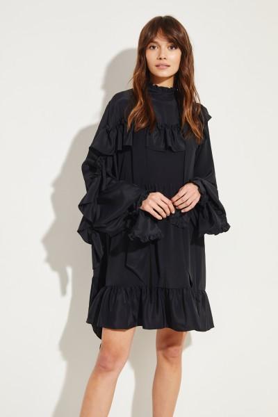 Kurzes Kleid mit Bindedetails Schwarz