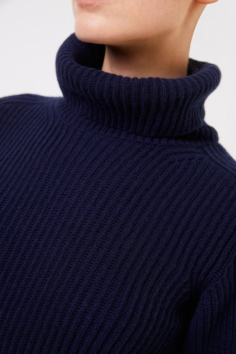 Iris von Arnim Kurzarm Cashmere-Pullover 'Fenja' Blau