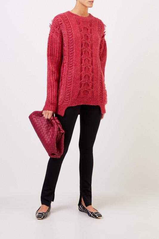 Stella McCartney Alpaca-Pullover mit Zopfmuster Fuchsia