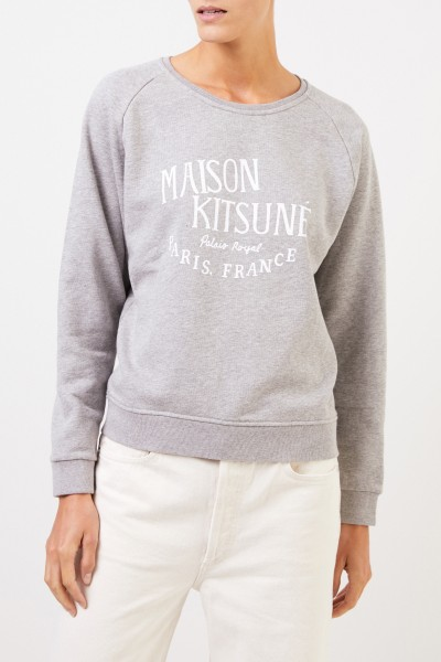 Maison Kitsuné Sweatshirt 'Palais Royal' with logo lettering Grey