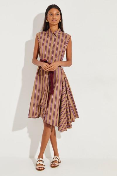 Gestreiftes Hemdblusenkleid mit Gürtel Beige/Bordeaux