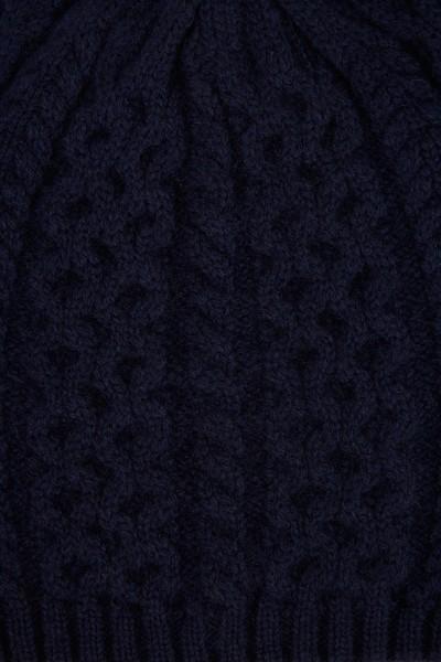 UZWEI Cashmere-Mütze mit Zopfmuster Marineblau