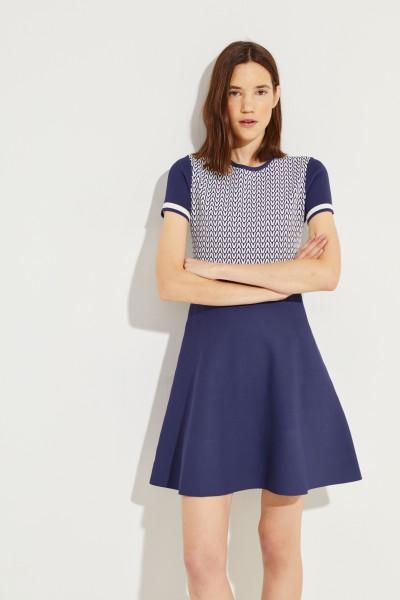 Patterned Knit-Dress Blue/White