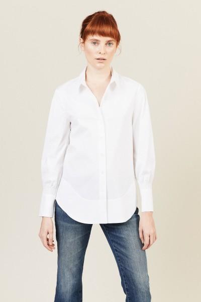 Klassische Bluse mit Raffung-Detail Weiß