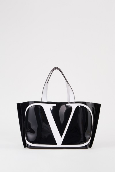 Shopper mit frontalem Logo Schwarz/Weiß