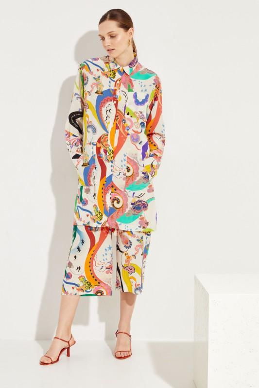 Seiden-Hemdblusenkleid Weiß/Multi