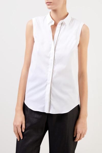 Brunello Cucinelli Kurzarm Baumwoll-Bluse mit Perlenverzierung Weiß