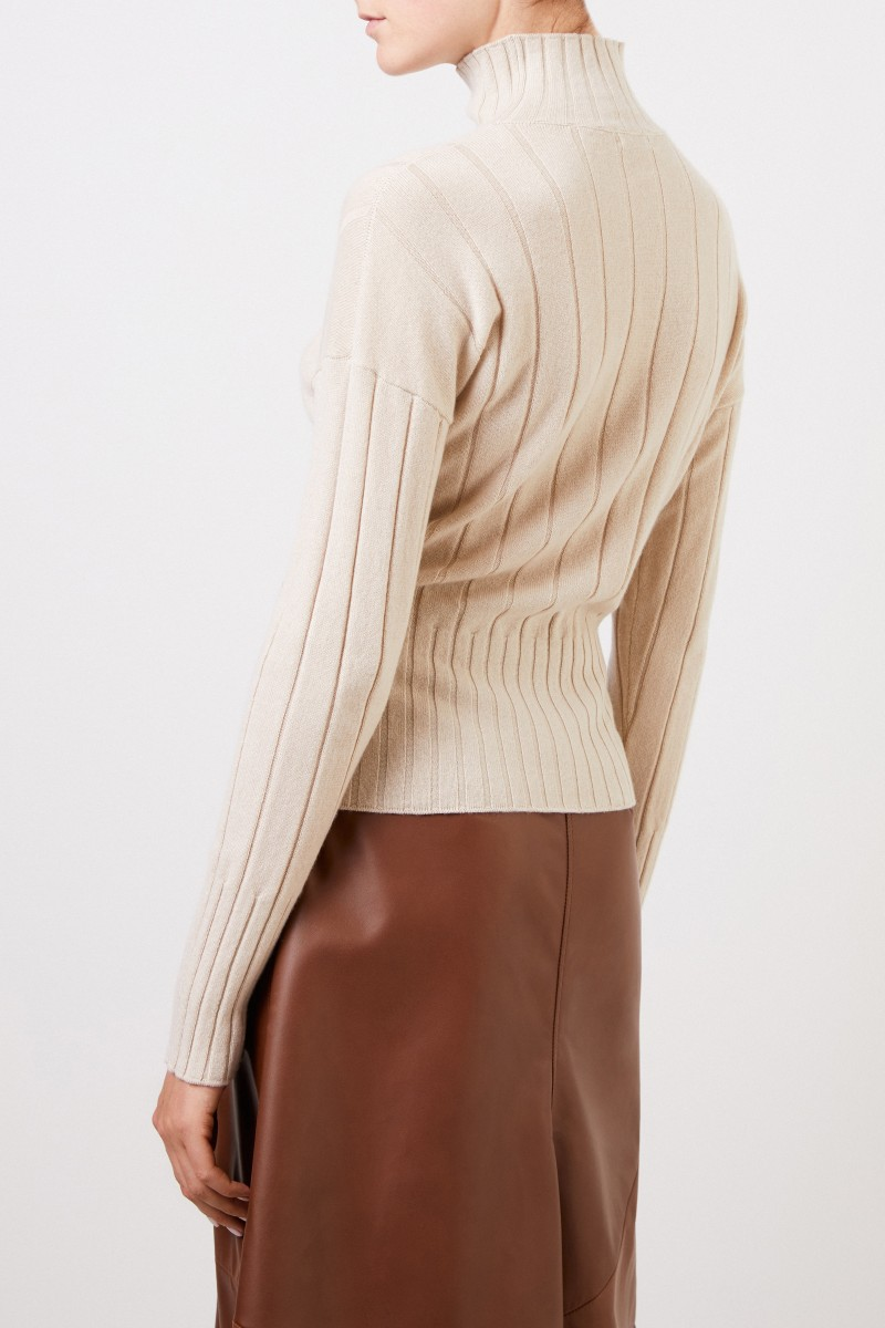 Colombo Cashmere-Pullover mit Turtleneck Beige