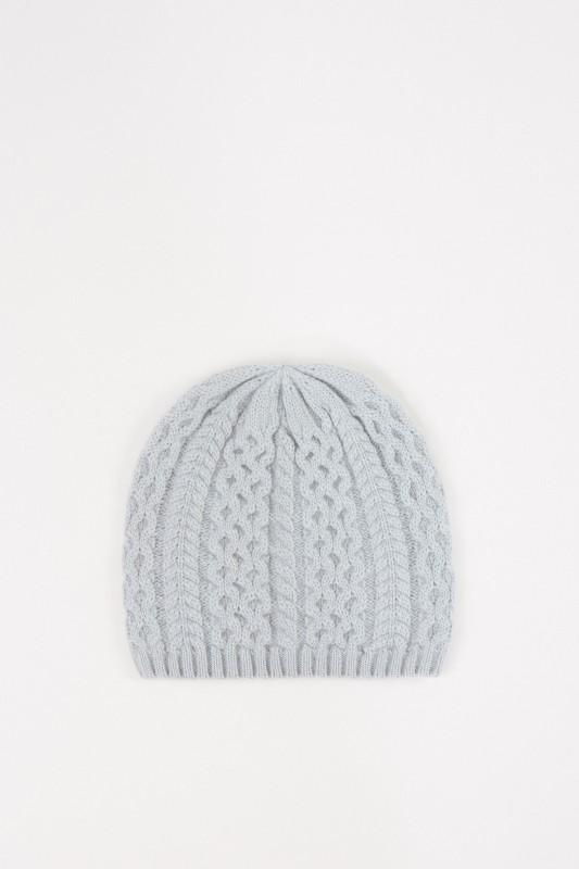 UZWEI Cashmere-Mütze mit Zopfmuster Seegrün