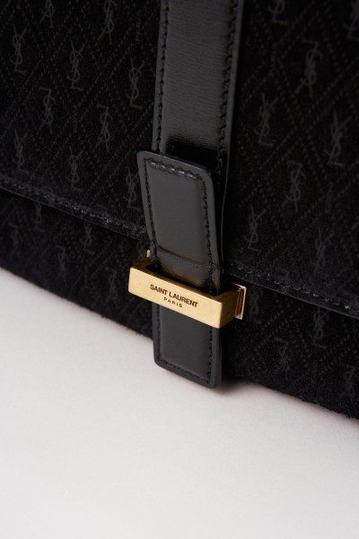 Saint Laurent Wildleder Umhängetasche 'Monogram All Over' Schwarz