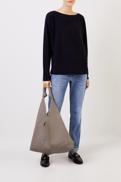 Wool silk pullover with texture Navy Blue