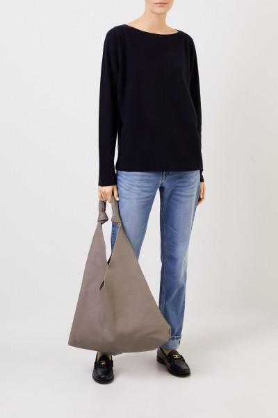 Fabiana Filippi Woll-Seiden-Pullover mit Struktur Marineblau