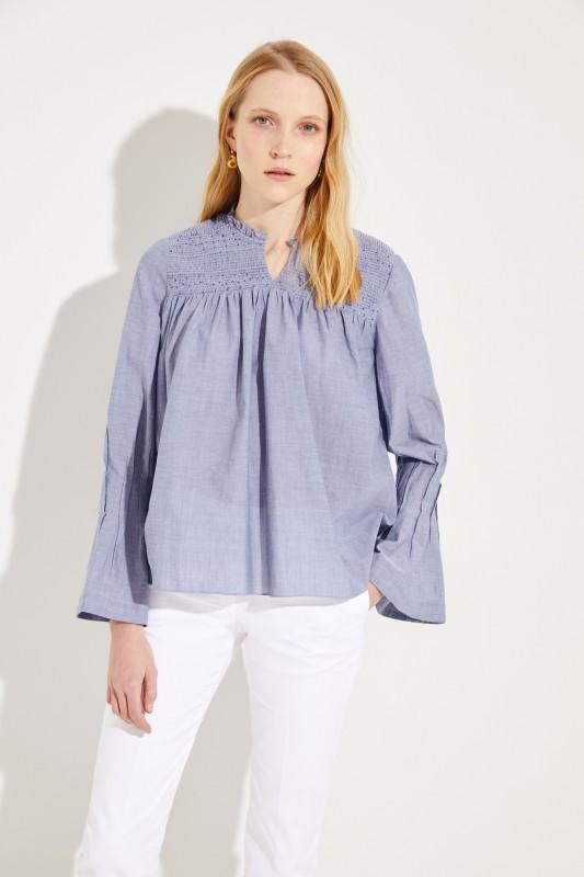Baumwoll-Bluse mit Glockenärmeln Blau