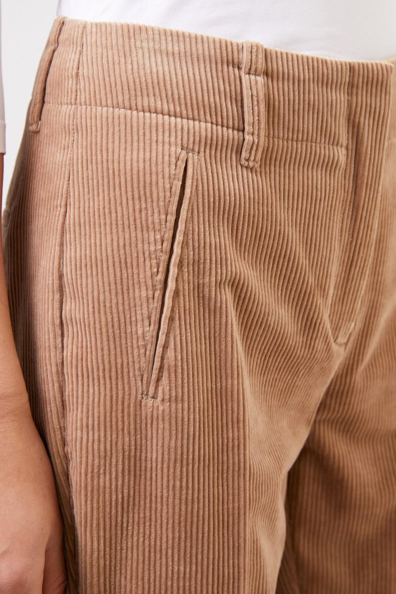 Cambio Cord-Hose mit Saumumschlag Beige