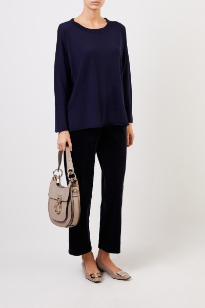 Feiner Woll-Pullover Marineblau