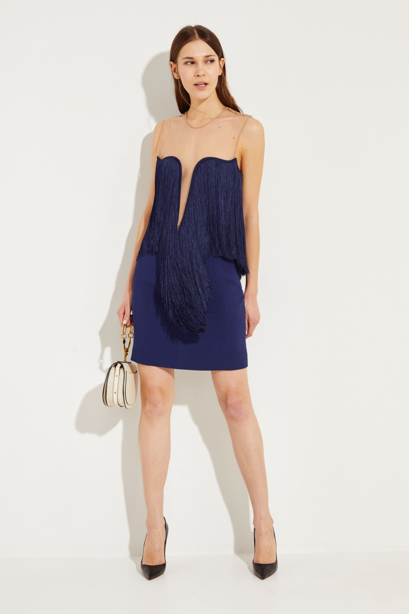Stella McCartney Cocktail dress with fringes Blue