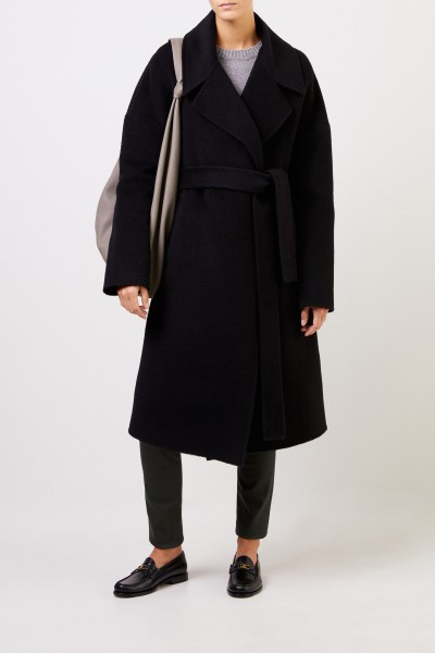 Iris von Arnim Wool alpaca coat 'Benita' with belt Black