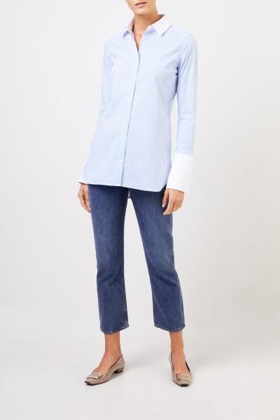 Uzwei Klassische Bluse mit breiten Manschetten Hellblau/Weiß