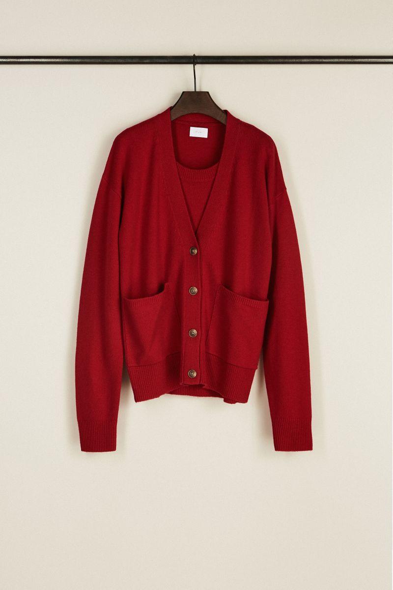 Woll-Cashmere-Twinset Rot