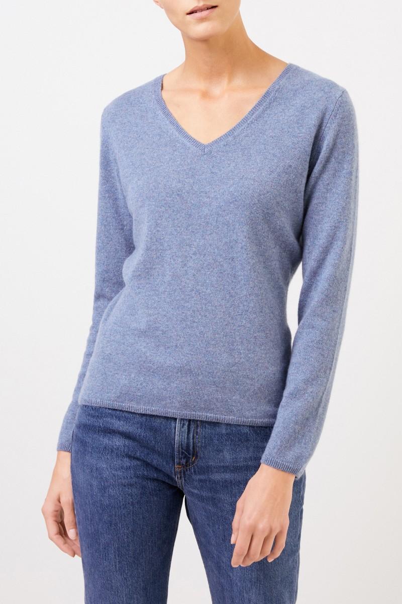 Cashmere-Pullover mit V-Neck Denimblau