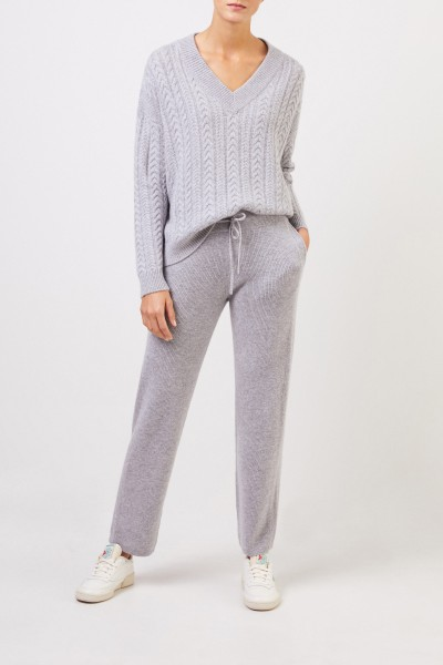 Cashmere pants with mesh knit Grey